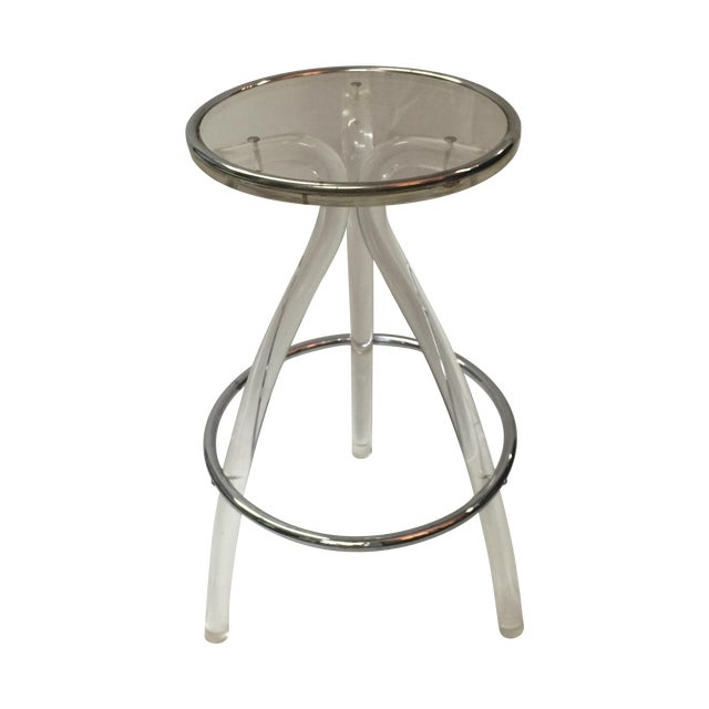Image of Lucite and Chrome Stool