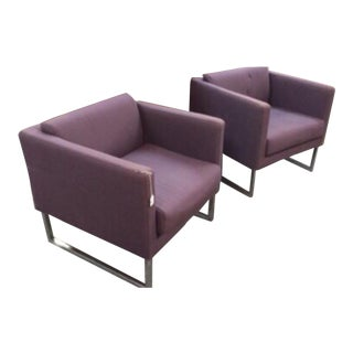 Tacchini Chrome Base Cube Chairs - A Pair