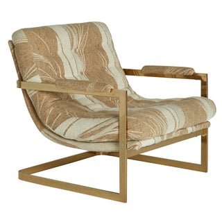 Milo Baughman Style Cantilever Brass Swoop Chair