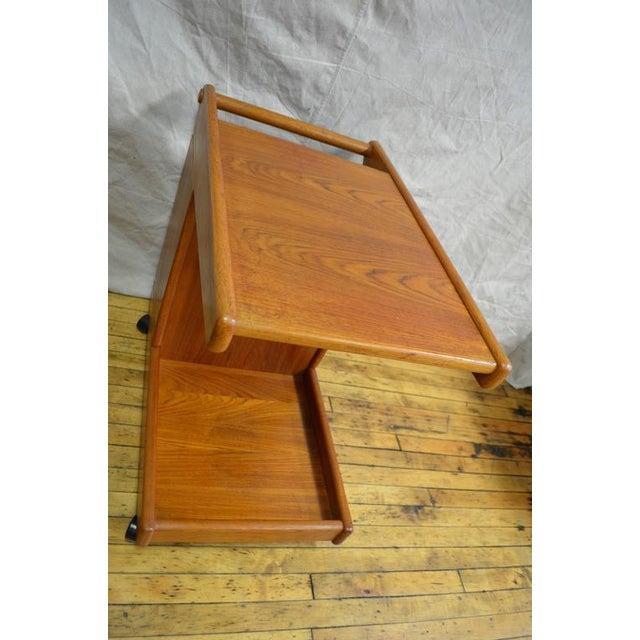 Mid-Century Teak Tea Bar Cart on Wheels - Image 2 of 10