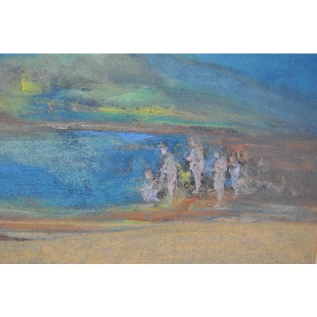 """Abraham Goldberg """"Coastal Scene w/ Figures"""" Pastel Painting c.1930s - Image 3 of 7"""