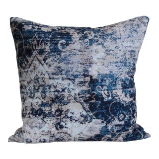 Blue Distressed Print Pillow Cover-18''