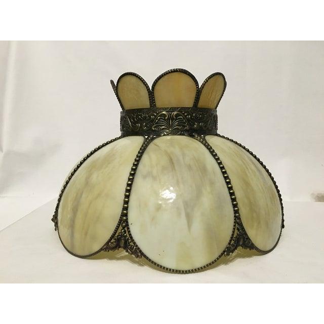 Image of Cream & Tan Slag Glass Lamp Shade