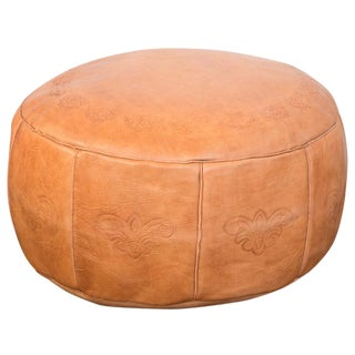 Antique Camel Leather Moroccan Pouf Ottoman