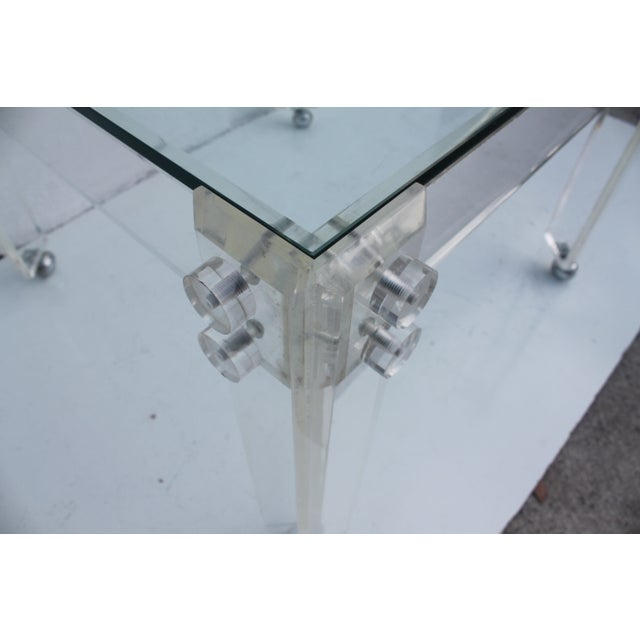 Square Lucite Dining Table Base - Image 4 of 8