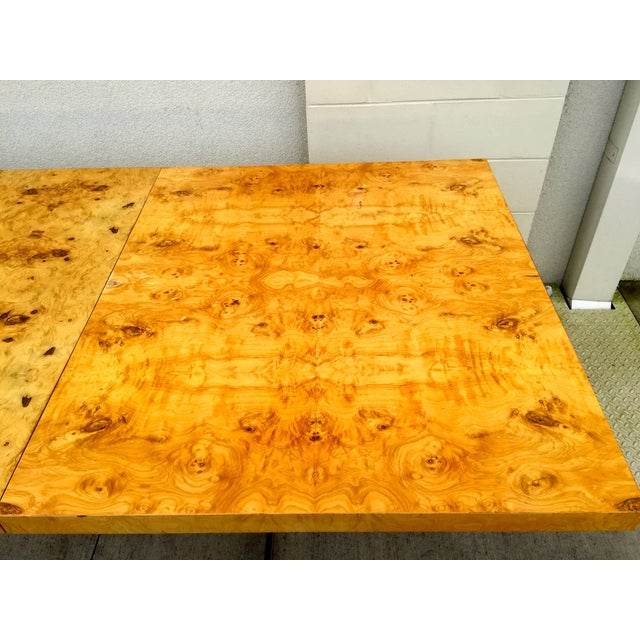 Burl Wood & Chrome Dining Table - Image 7 of 11