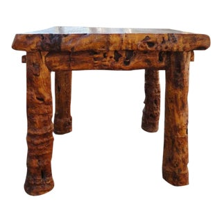 Early 19thc Rustic Burl &Log Plank Top Table