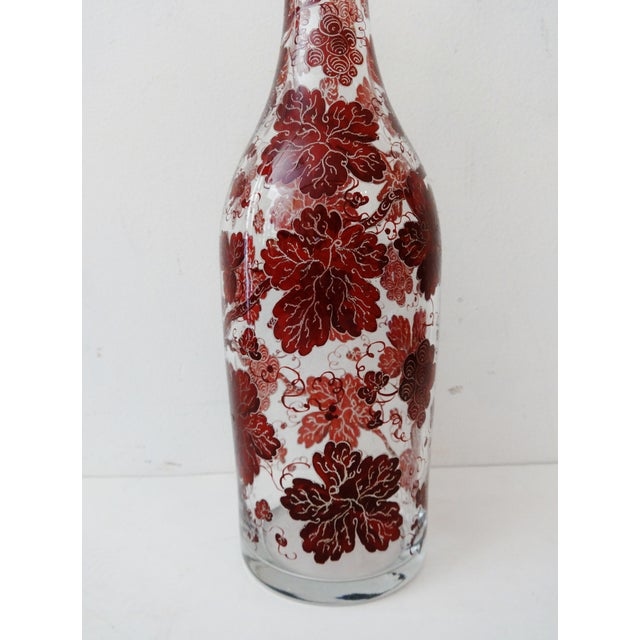 Vintage Bohemian Glass Decanter w/ Crystal Stopper - Image 3 of 6