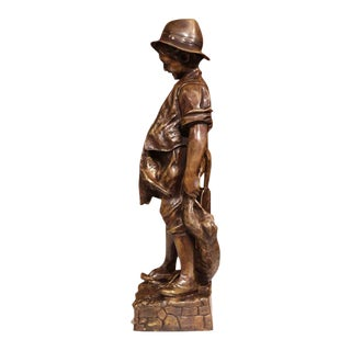 Mid-Century French Bronze Figure Young Hunter With Birds and Rabbit