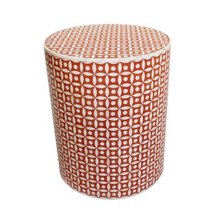 Orange Inlay Round Side Table