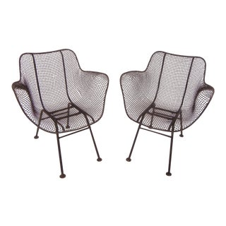 Russell Woodard Mid-Century Modern Wrought Iron & Mesh Chairs