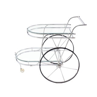Large Wheel Design Chrome and Glass Tea Bar Cart