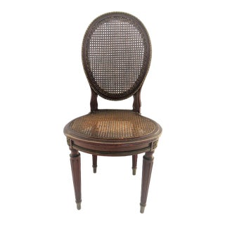 Louis XVI Style Carved Walnut Caned Side Chair