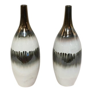 Modern Bronze & White Ceramic Glazed Vases - a Pair