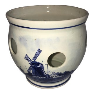 Hand Painted Blue Delft Container From Holland