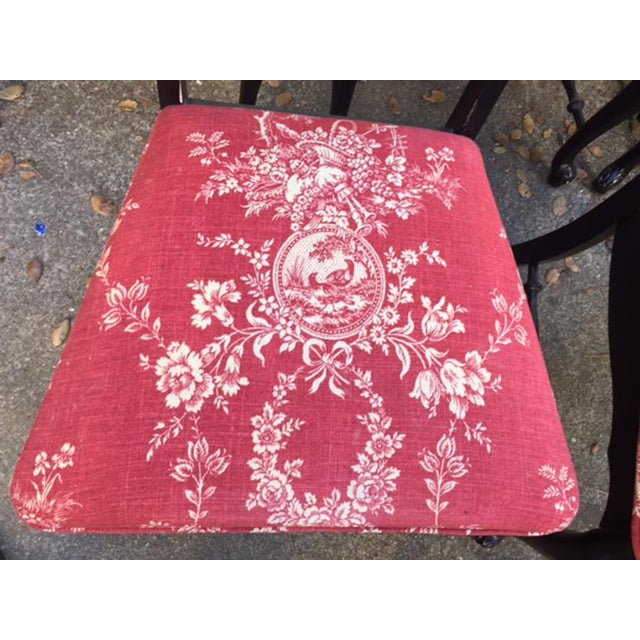 Hollywood Regency Chinoiserie Red Toile Black Louis French Dining Chairs - 6 - Image 10 of 11