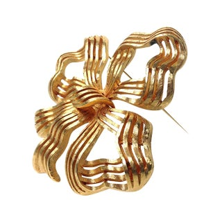 Monet Goldtone Ribbon Brooch