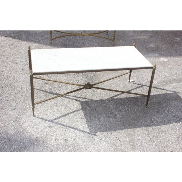 Long Maison Jansen Coffee Or Cocktail Table Bronze Rectangular With Marble Top Circa 1940s - Image 8 of 11