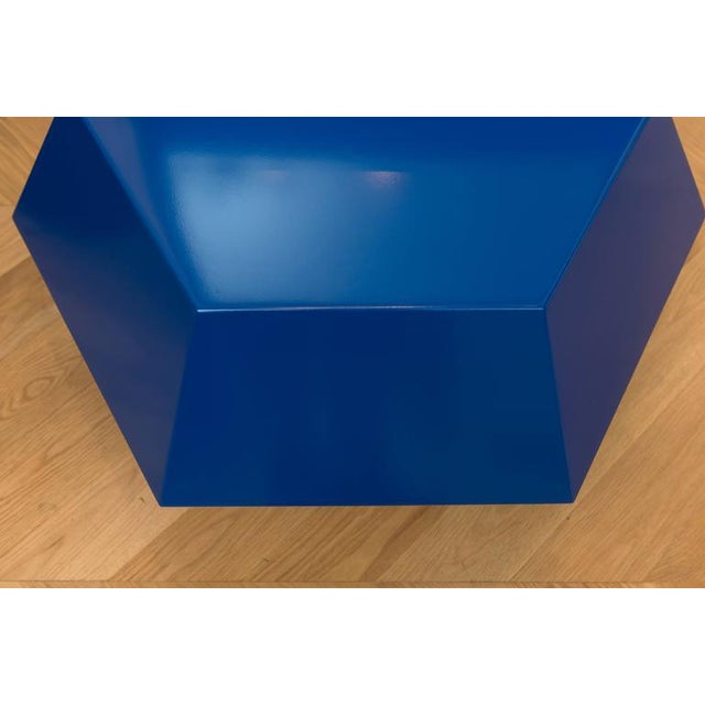 Lacquered Navy Faceted Cocktail Table - Image 3 of 6