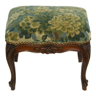 Italian Scalamandre Green Marly Velvet Tapestry Footstool