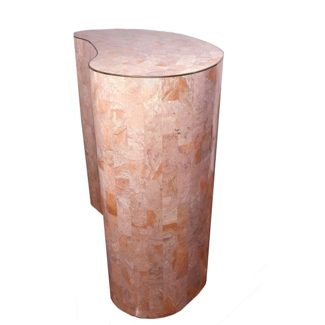 Maitland-Smith Tessellated Pink Marble Kidney Side Table - Image 1 of 6