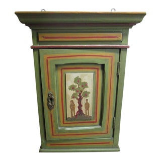 Vintage Hand Painted Adam & Eve Wood Box Shelf Cabinet