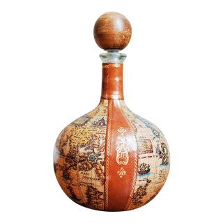 Vintage Italian Leather Map Decanter