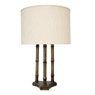 Faux Bamboo Wood Bouillotte Lamp