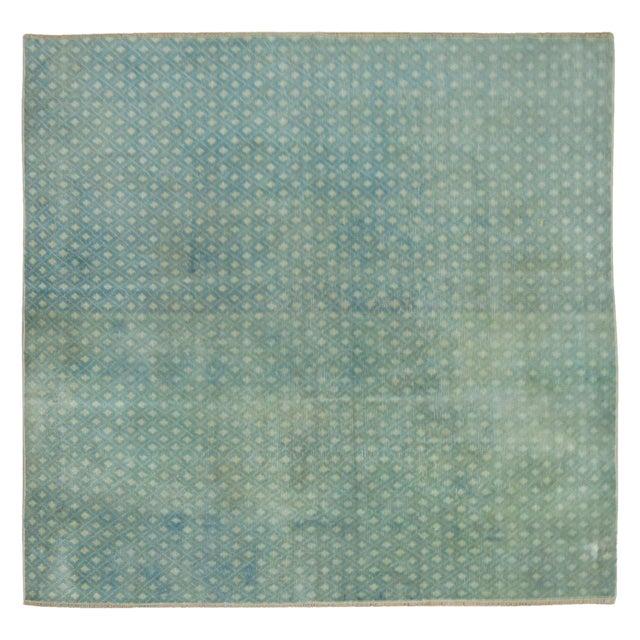 Mint Green Turkish Overdye Square Rug - Image 1 of 4