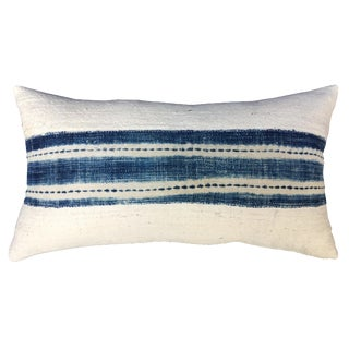 African Mud Cloth Pillow with Indigo