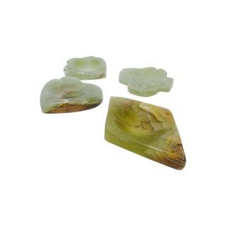 Carved Onyx Stone Ashtray Dishes - Set of 4