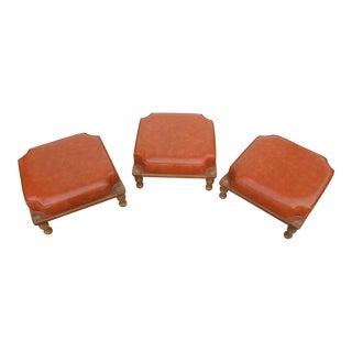 1960's Mid-Century Burnt Orange Stacking Footstools - Set of 3