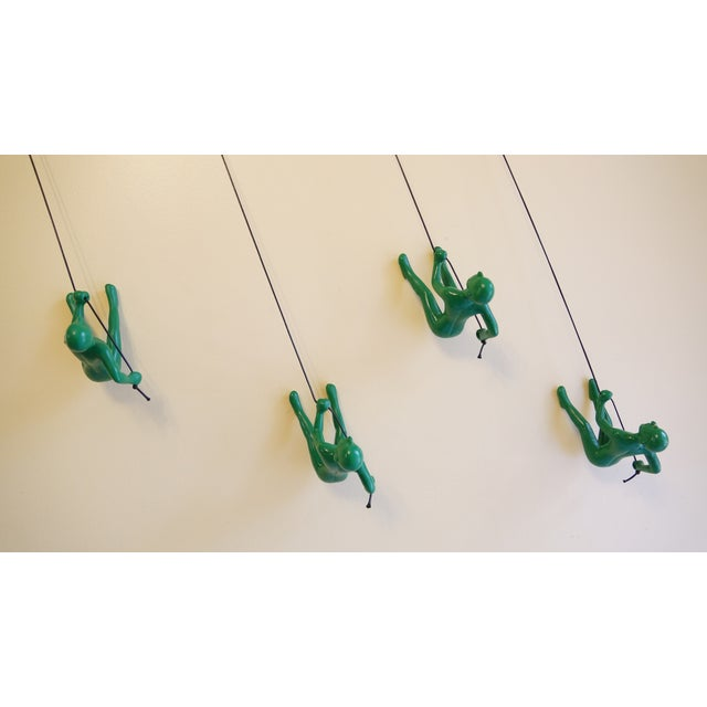 Image of Green Position 2 Climbing Man Wall Art - Set of 4