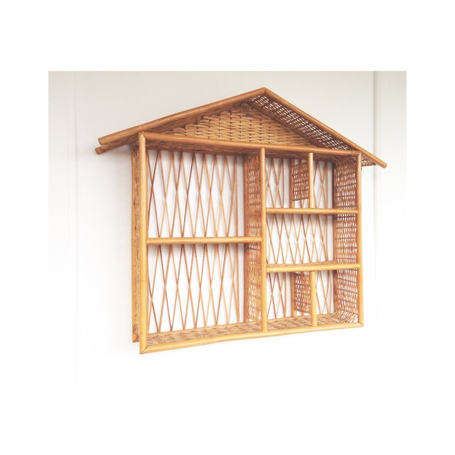 Image of Vintage Rattan Curio House Shelf
