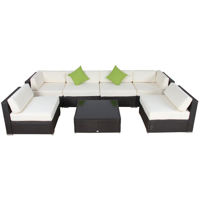 Image of Modern Patio Rattan Sectional - Set of 7