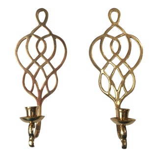 Scrolling Brass Candleholder Sconces - A Pair