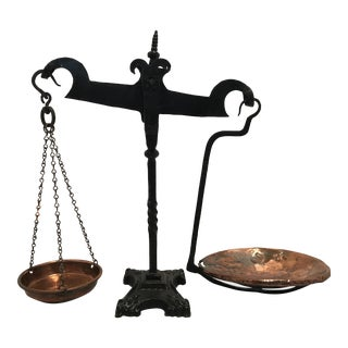 Antique Wrought Iron & Copper Scale, 1930s