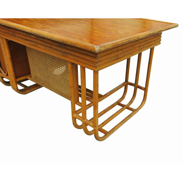 Restored Large Jean Royère Style Streamline Rattan Executive Desk - Image 7 of 8