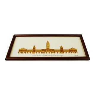 Vintage Arch Framed 2 - D Wood Art of Kuala Lumpur, Malaysia Sultan Abdul Samad Building 1897