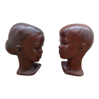 Vintage Terra Cotta Boy & Girl Busts - A Pair