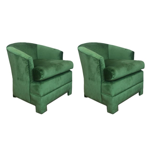 Green Velvet Milo Baughman Club Chairs - A Pair - Image 1 of 4