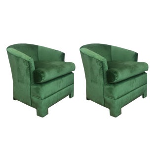 Green Velvet Milo Baughman Club Chairs - A Pair