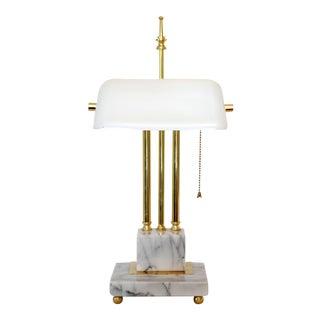 Banker's Marble & Brass Desk Lamp