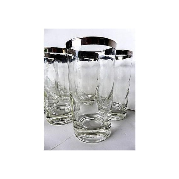 Mid-Century Modern Silver Rim Glassware - 11 - Image 5 of 6