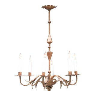 20th Century Spanish Barcelona Gilt Tole Floral and Foliate Chandelier