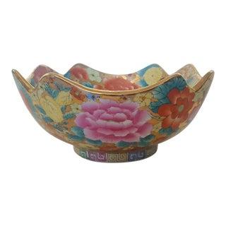 Vintage Chinoiserie Floral Chintz Hand Painted Gold Leaf Porcelain Bowl