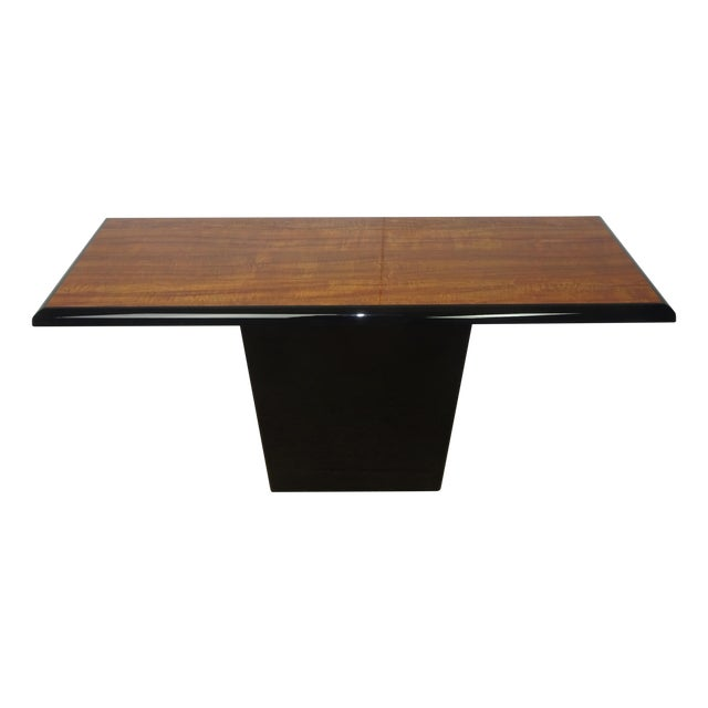 T Shaped Black & Wood Grain Console - Image 1 of 7