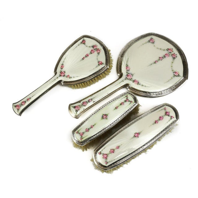 R. Blackinton Company Sterling Silver & Guilloche Enamel Vanity Collection - Set of 4 - Image 3 of 7
