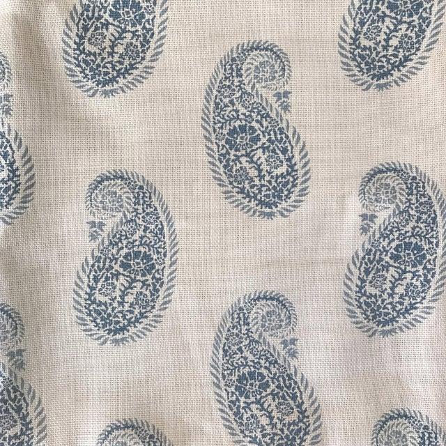 """Peter Fasano """"Chamba"""" Blue on Ivory Paisley Linen Fabric - Image 1 of 3"""