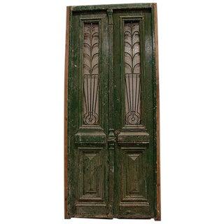 1890 Victorian Architectural Green Paint Iron Door